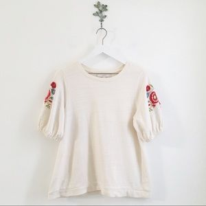 LOFT Floral Embroidered Puff Sleeve Top MP Boho